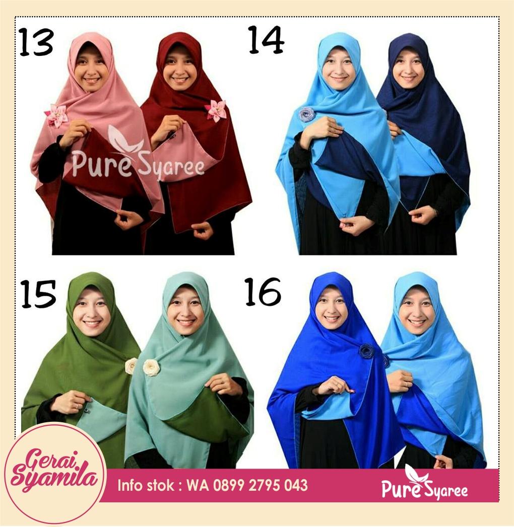 jilbab bolak balik / hijab double hycon / kerudung pure syaree