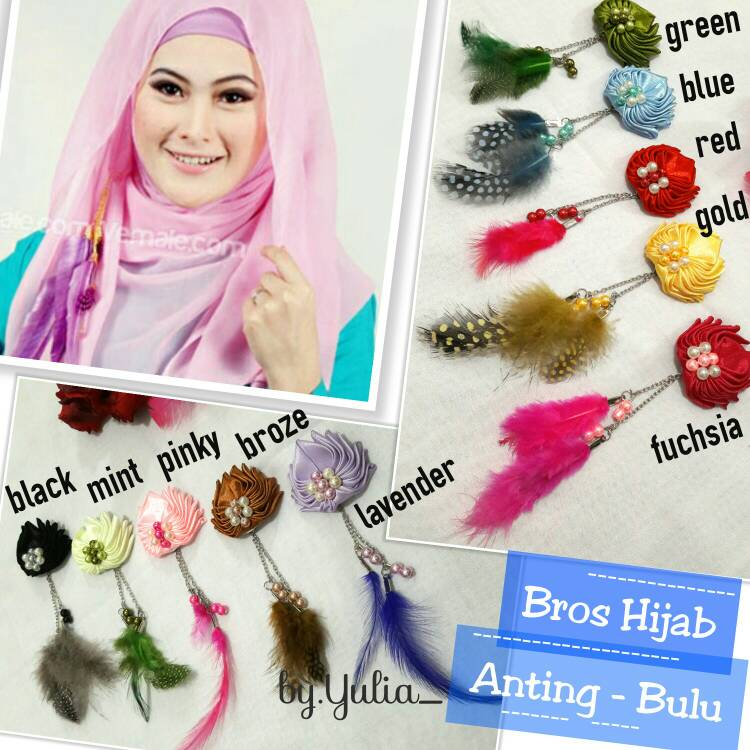 Bros Hijab Anting Bulu / Bross Jilbab Murah
