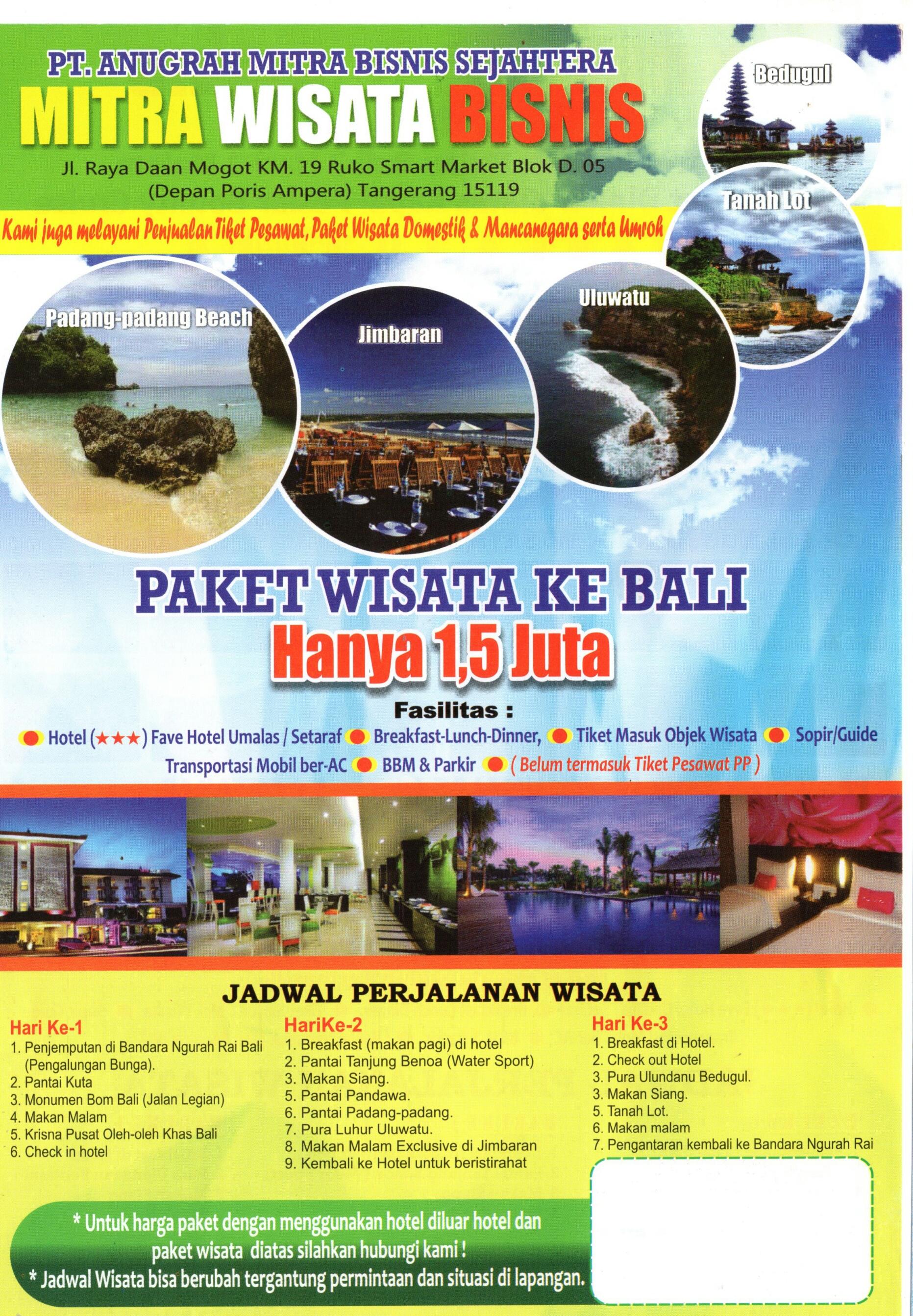 Jual Paket Wisata Bali 3 Hari 2 Malam 15 Juta Mitra Bisnis Tour 4 Tokopedia