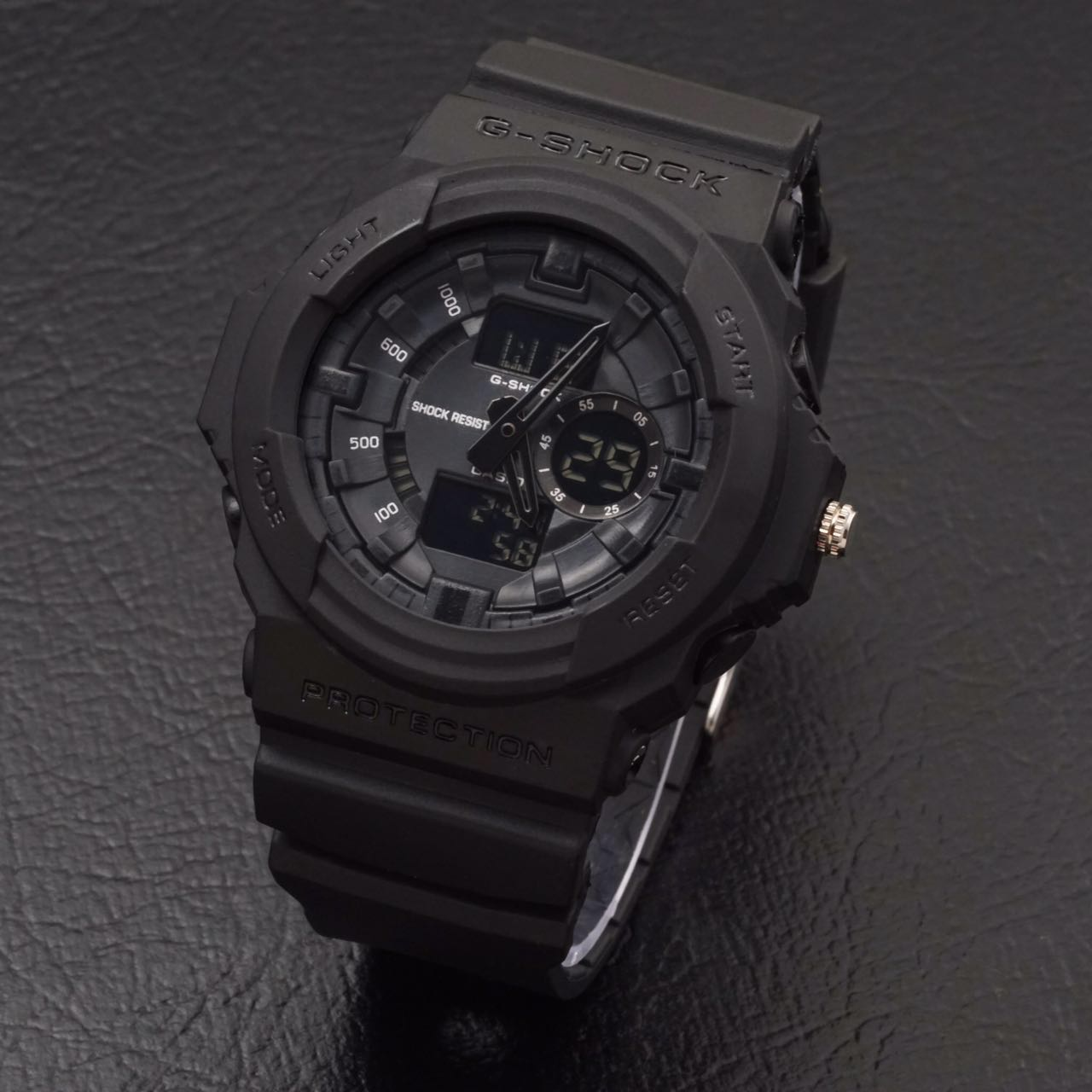 jam tangan gshock ga150 g shock ga 150 dualtime full black hitam