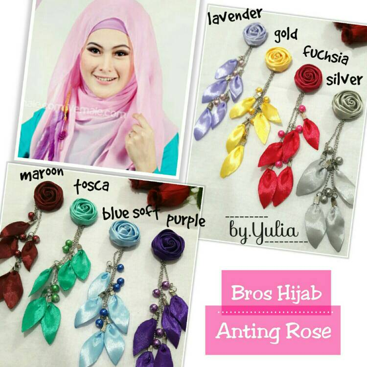 Bros Hijab Anting Rose / Bross Jilbab Murah