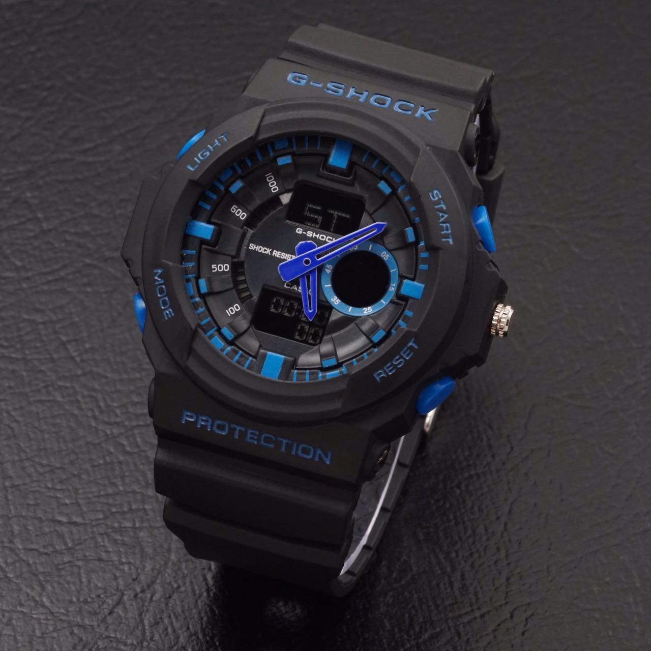 jam tangan gshock ga150 g shock ga 150 lis biru double time analog dan