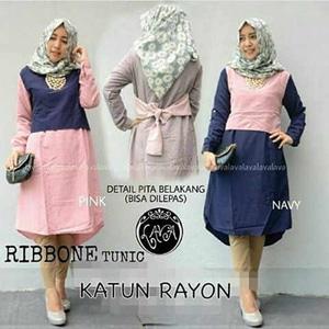 Baju Atasan Wanita/Ribbone Tunik/Dress Hijab Murah/GrosirBlouse Wanita
