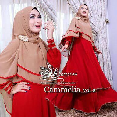 set hijab camelia red brown/baju busana terbaru/gamis muslim modern