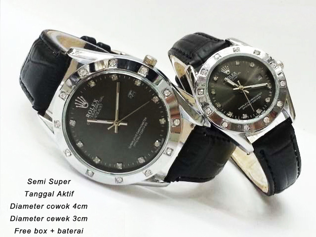 Rolex Oyster tanggal Couple tali Kulit ring Silver
