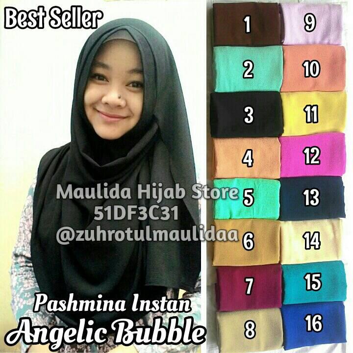 Pashmina Instan Angelic Diamond Cerutti Bubble / Hijab Jilbab Khimar