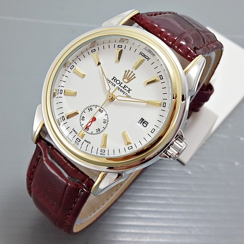 ROLEX OYSTER LEATHER BROWN SILVER GOLD PLAT GOLD (Jam tangan Pria)