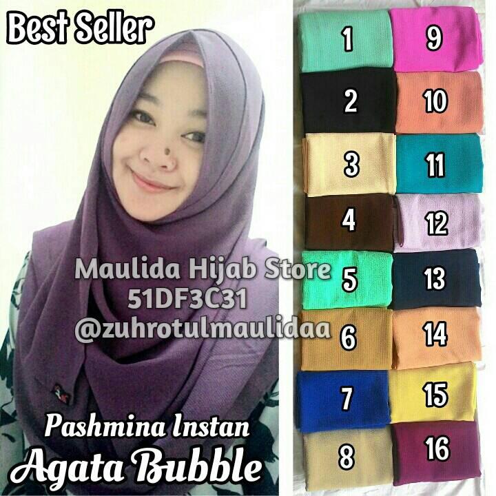 Pashmina Instan Agata Diamond Cerutti Bubble / Hijab Jilbab Khimar