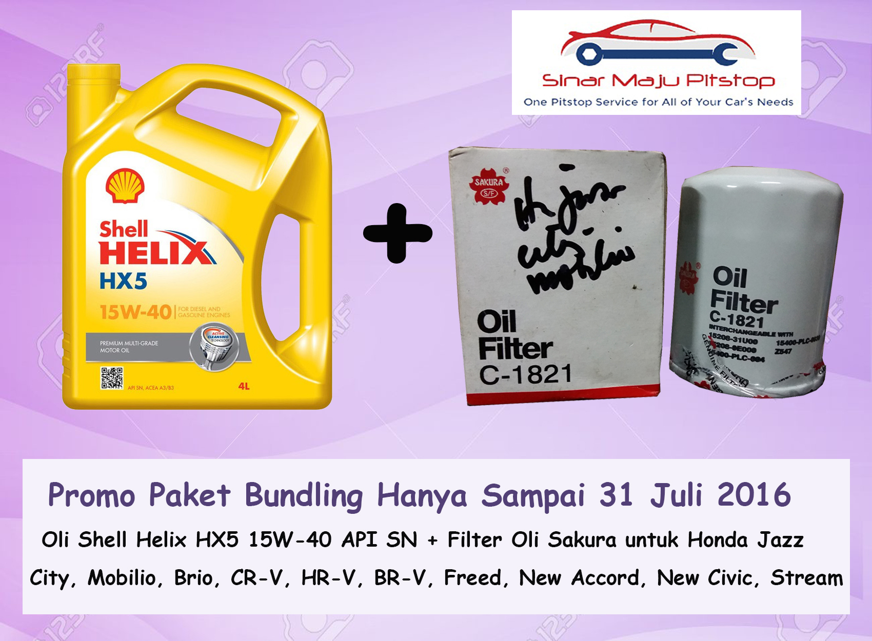 Paket Bundling Shell Helix HX5 & Filter Oli Honda Jazz City Brio CR-V