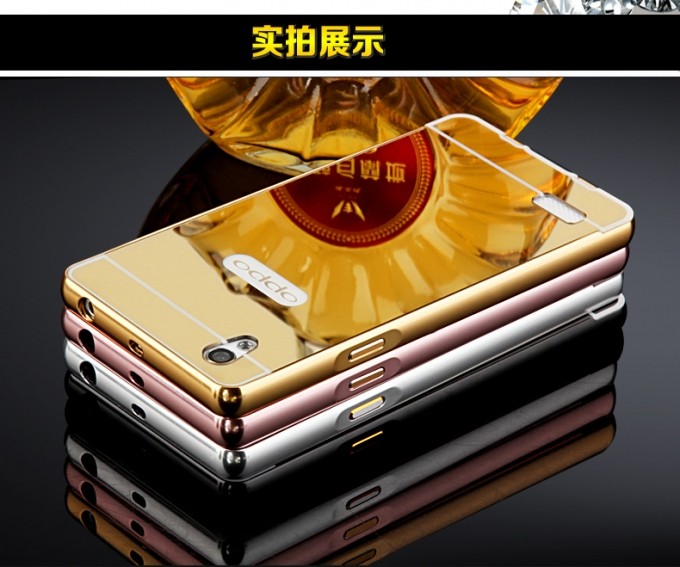 Jual Alumunium Bumper Mirror Armor ORI Back Cover Case Casing Oppo Mirror 5 - Caramells Case