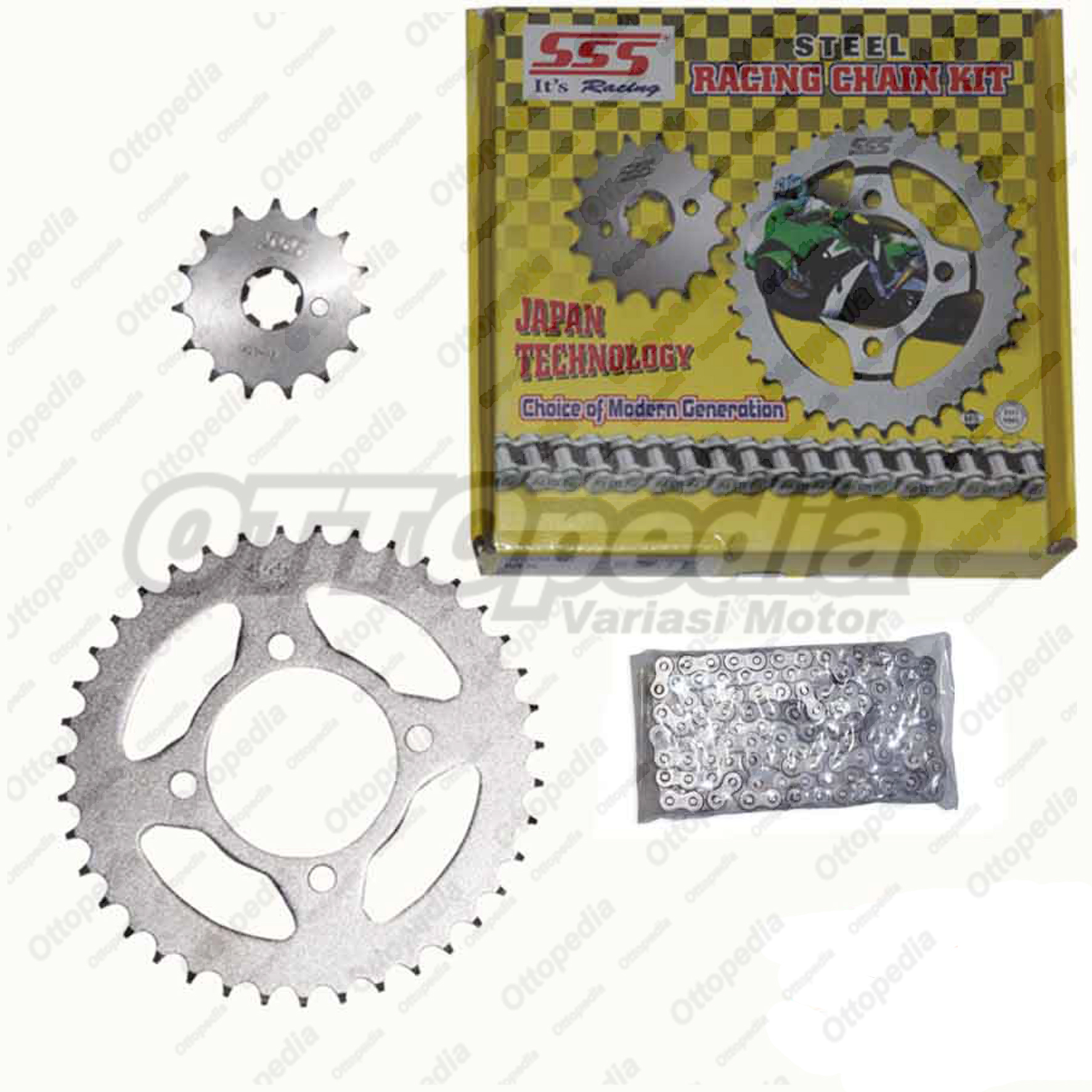 Jual Chain Kit Gear Set Rantai Motor SSS Supra X 100 Cc