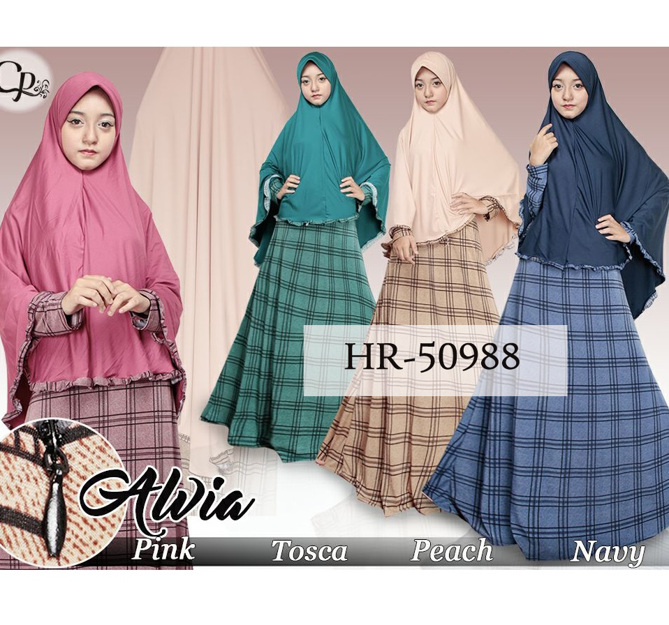 Setelan Hijab Plaid Awia / Gamis Busui Set Hijab / Baju Hijabers