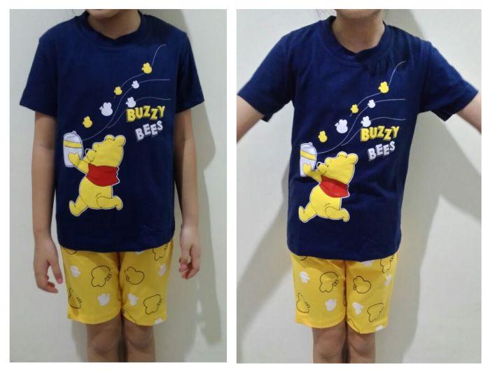 STKDL200 - Setelan Anak Pooh Buzzy Bees Navy Yellow Murah