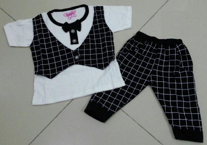 STKDK155 - Setelan Anak Kecil Tie Black Kotak-Kotak Murah