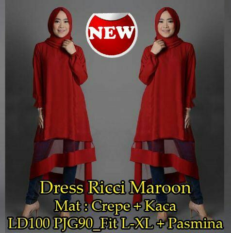 dress ricci/stelan hijab/baju hijab/fashion hijab/tunik/promo!!