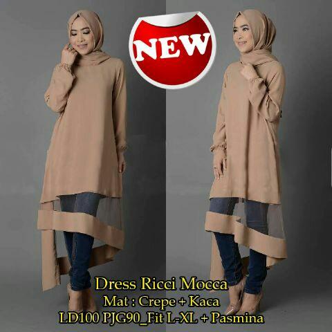 dress ricci/stelan hijab/baju muslim/fashion hijab/hijab murah/promo!!