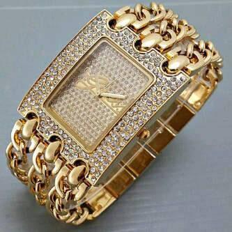 jam tangan guess 3 rantai / jtr 348 gold