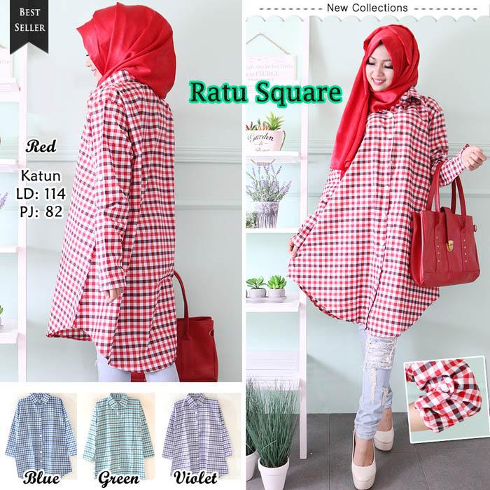 Ratu Square Tunik Bigsize Kemeja Baju Muslim Wanita Jumbo Hijab Tunic