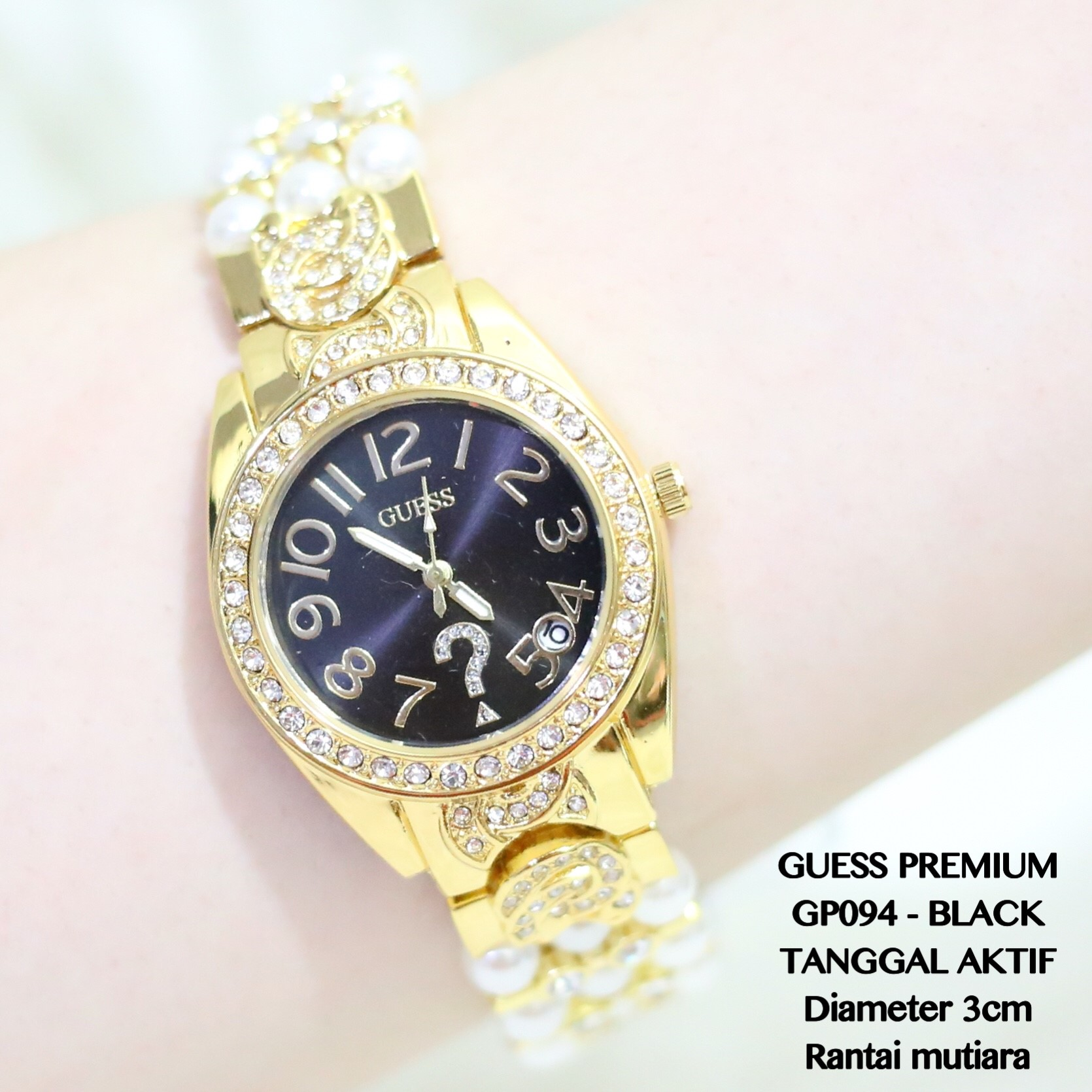 JAM TANGAN WANITA GUESS FASHION PERMATA RANTAI ROSE GOLD PESTA KADO