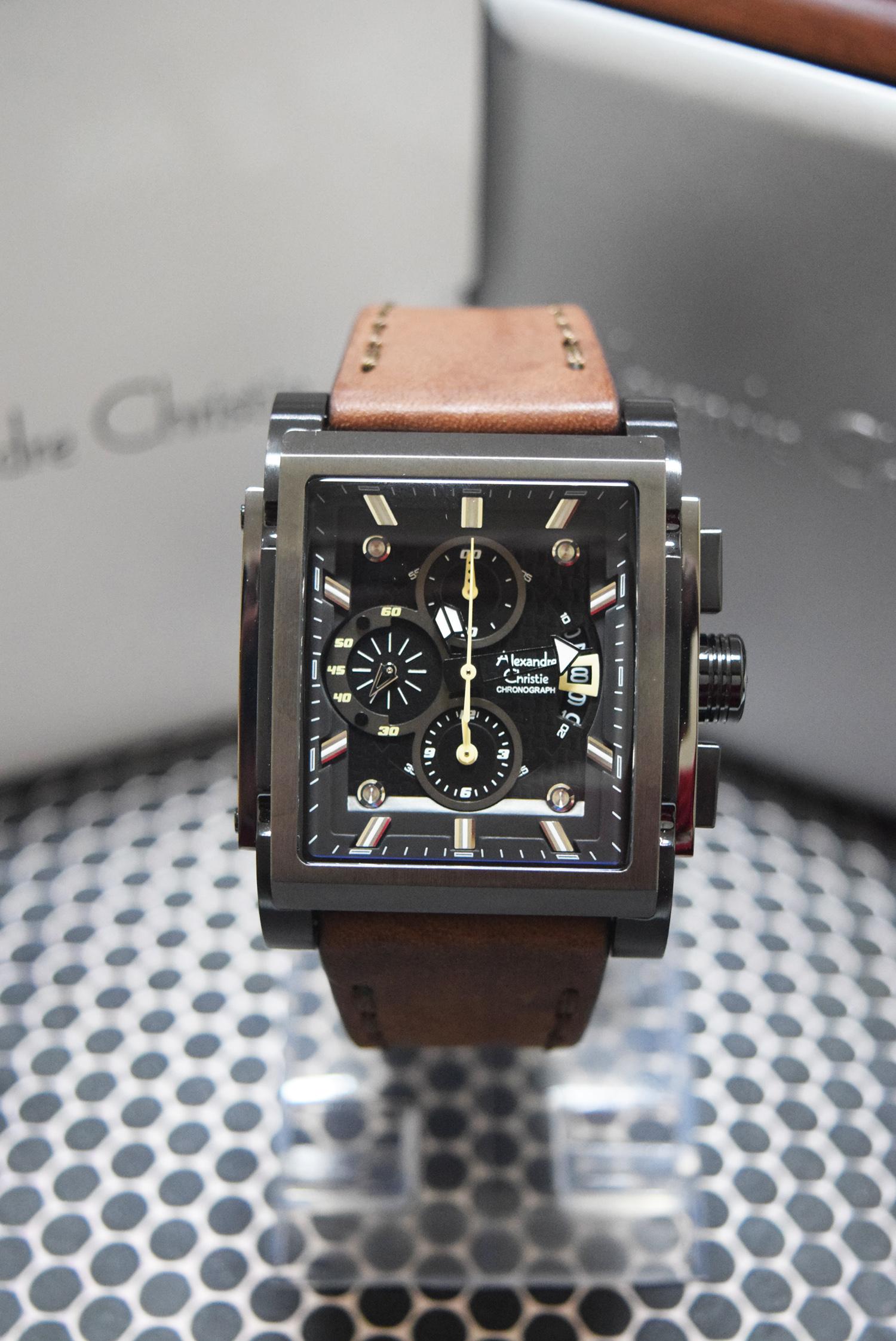 Jual Alexandre Christie Ac 6405 Full Black Leather Brown Men Alexandra Watch Original Anita Watches Tokopedia