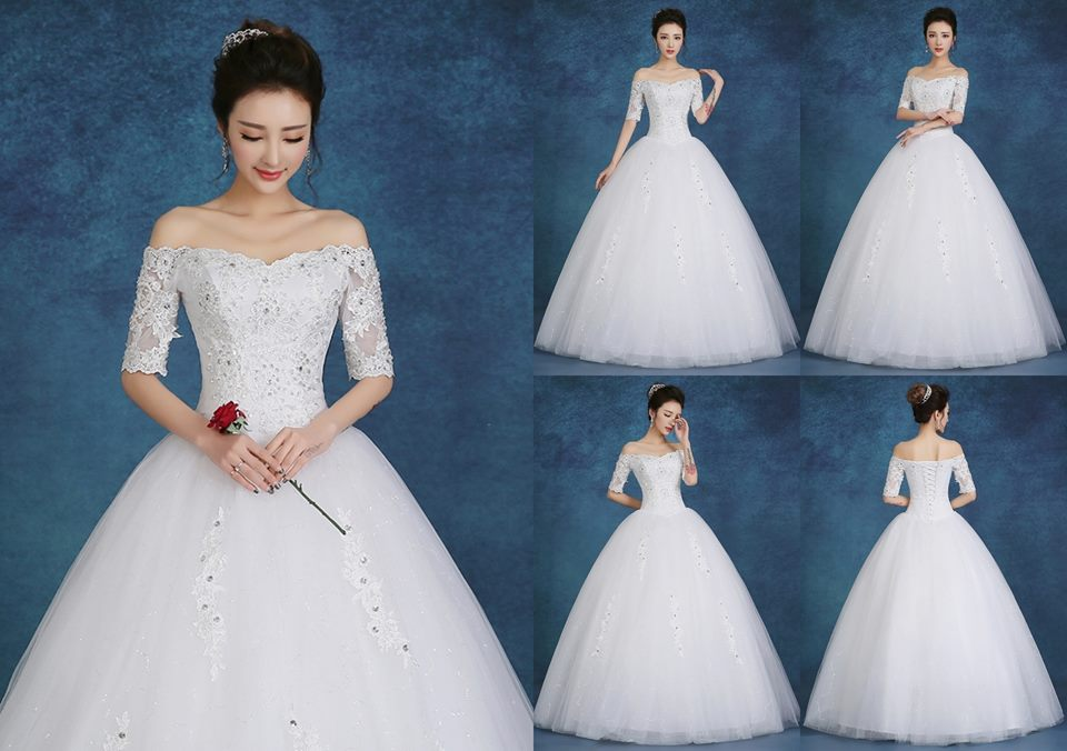 Jual Gaun pengantin lengan sabrina putih wedding dress import korea - gaun baru | Tokopedia