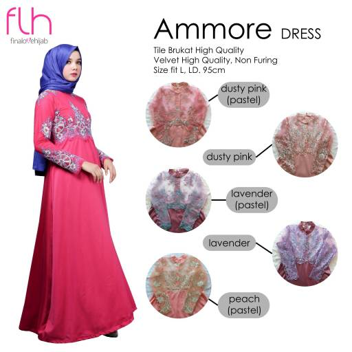 supplier baju hijab : amore dress ori by flh / kebaya wisuda murah