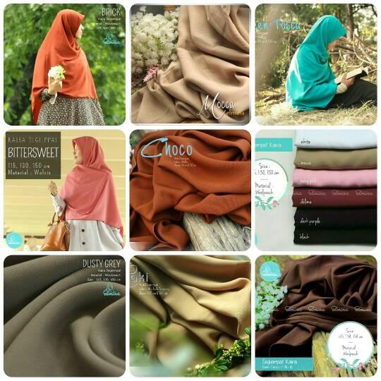 Hijab khimar jilbab segi empat Elmina kaira polos - 115cm