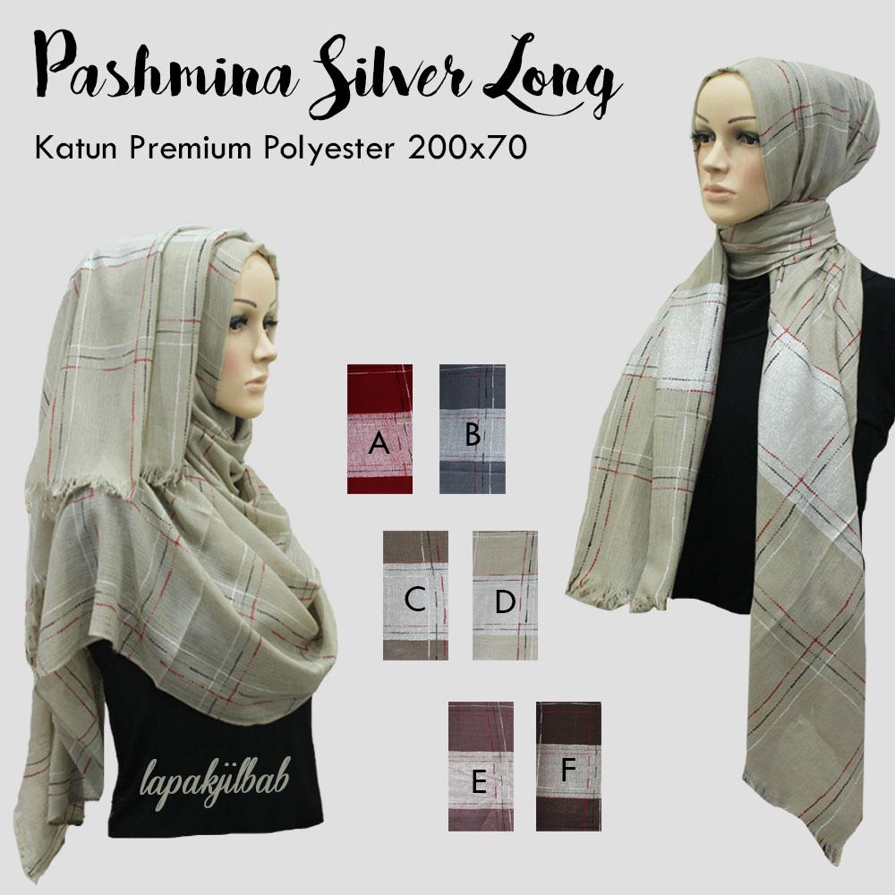 Pashmina Umama Scarf Silver Long | Hijab Terbaru Harga Ecer
