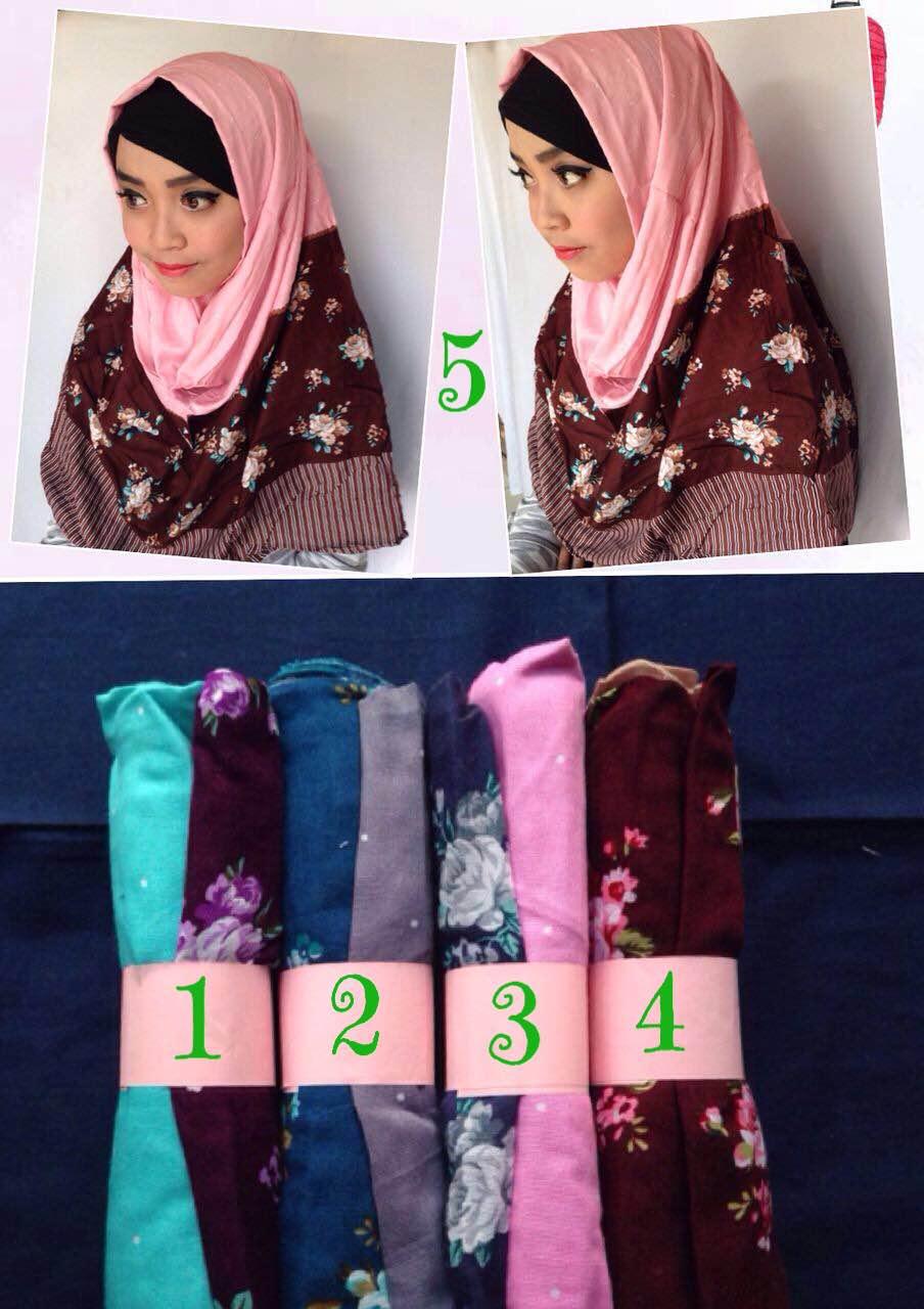 kerudung pashmina katun rayon / monochrome kombinasi hijab