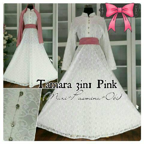 Grosir Gamis Syari Murah Tamara White Pink (Terbaru Murah Modern Cantik)
