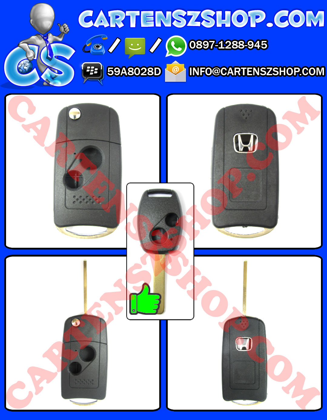 Casing Kunci Lipat / Flip Key 2 Tombol Mobil Honda Jazz, CRV, Civic, Freed, Brio, Mobilio, Accord, City, Dll