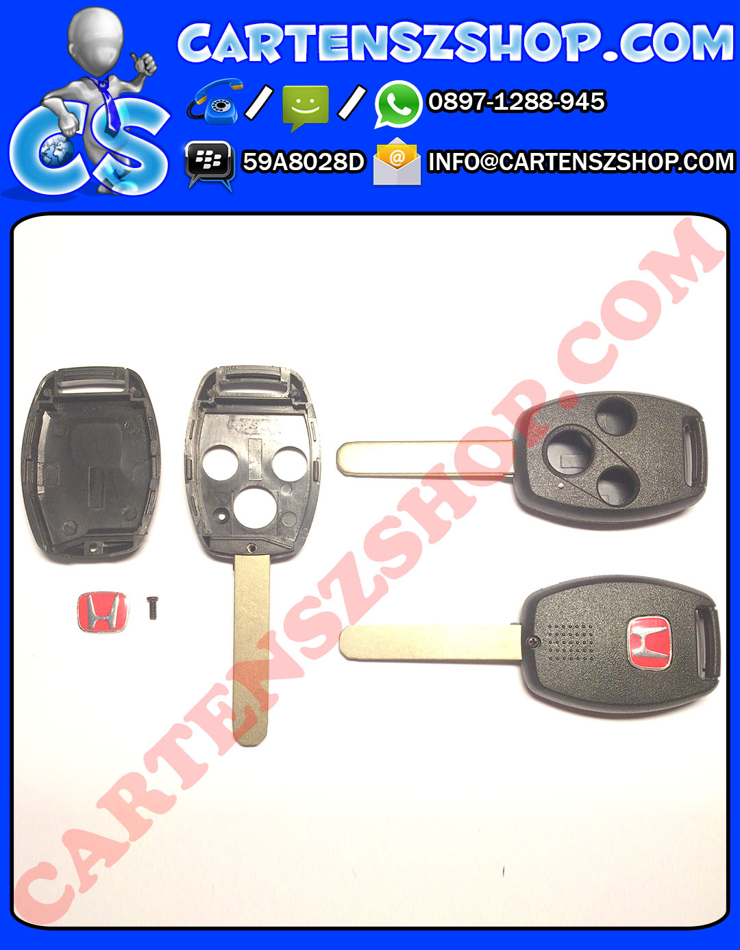 Casing Kunci Model Standar 3 Tombol Emblem Merah Mobil Honda Jazz CRV Civic