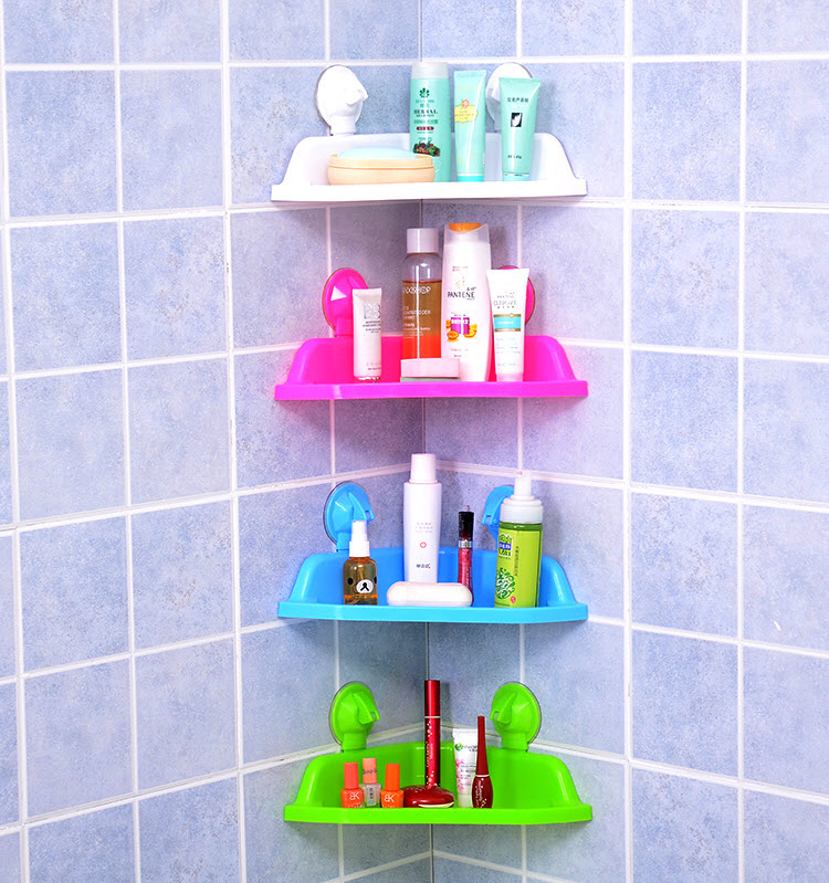 rak sudut dinding tempat penyimpanan sabun peralatan kamar mandi