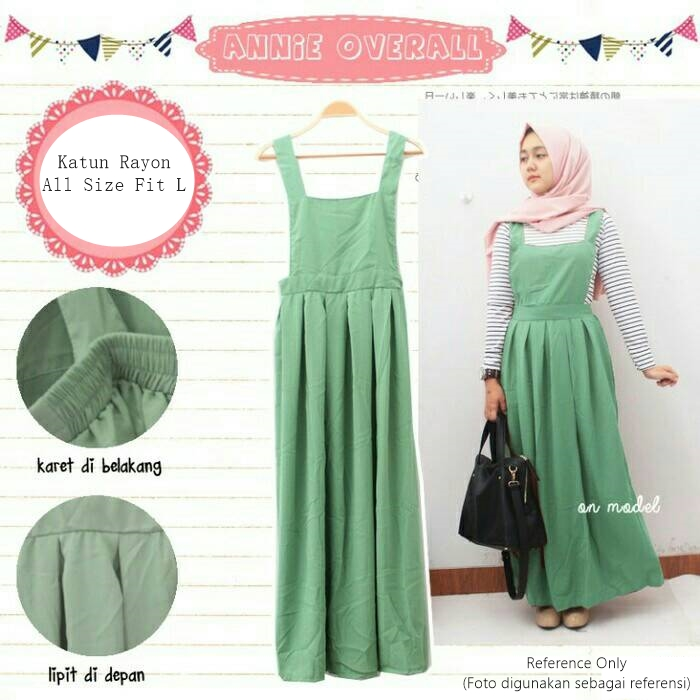 Jual Annie Overall Green Gamis Modis Baju Muslim Long Dress