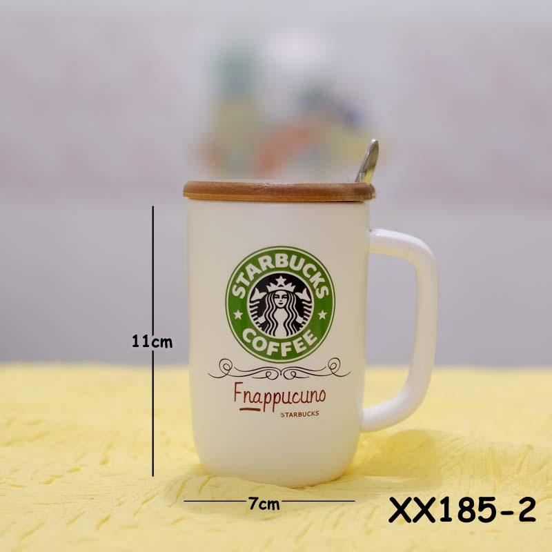 Mug Starbucks tutup kayu Hijau XX185-2