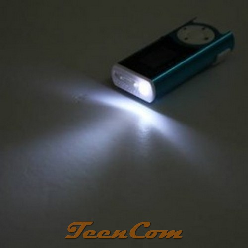 MP3 Player TF Card With Clip & LED Flashlight - Black