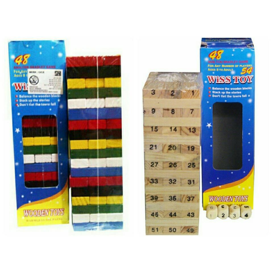 Jual Wooden Blok Uno Stacko Kayu Plazaunik Tokopedia Paket Kartu Game