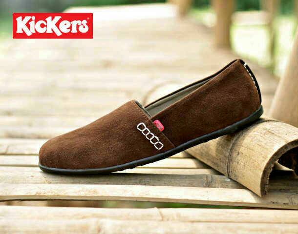 sepatu kickers slip on amazone brown suede