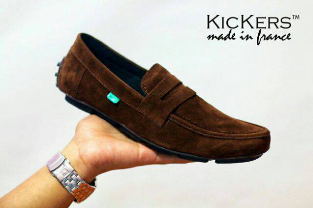 sepatu kickers slip on zevin brown suede