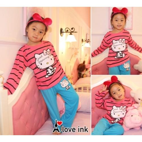 STKDHK119 - Setelan Anak Piyama Helo Kity Pink Stripe Blue Pant Good Murah