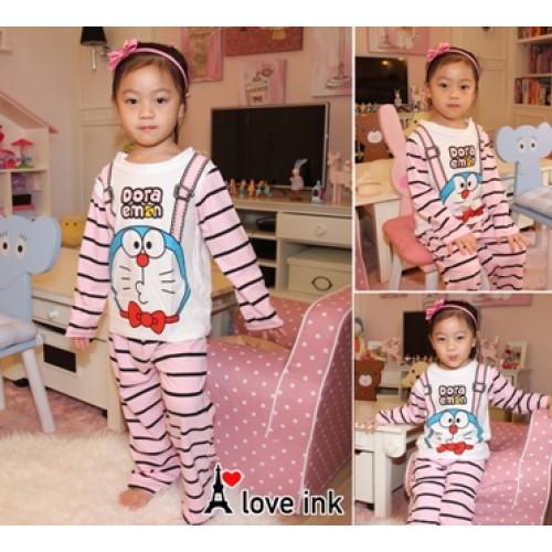 STKDDR36 - Setelan Anak Piyama Doraemon Suspender Pink Murah
