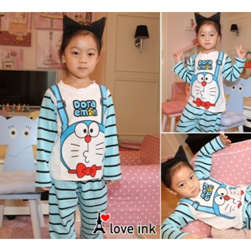 STKDDR35 - Setelan Anak Piyama Doraemon Suspender Blue Murah