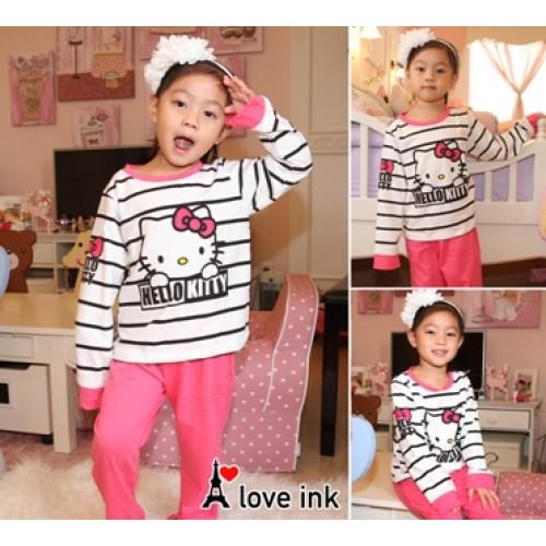 STKDHK120 - Setelan Anak Piyama Hello Kitty Peek Stripe Murah