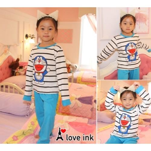 STKDDR34 - Setelan Anak Piyama Doraemon Blue Stripe Black Murah