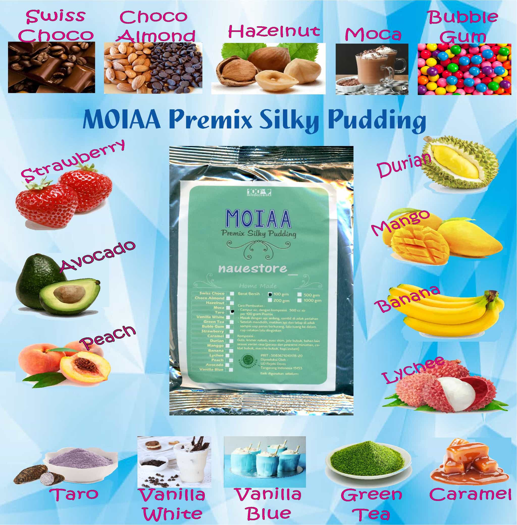 Hemat Paket 5 Bh Moiaa Premix Silky Pudding 200 Gr Puding Sutera Moia Moya  Hot Jual Sutra Bubuk Powder Instan Lembut Sehat Enak Herby Store