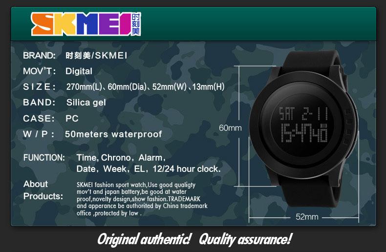 Jam Tangan Pria SKMEI 1142 Original Water Resistant 50M - Black