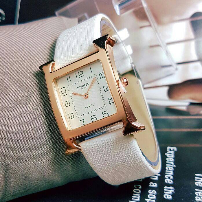 Jual Jam Tangan Pria   Cowok Hermes Leather White Hot List Tokopedia -  Jamtopdw Watch  0812d1889d