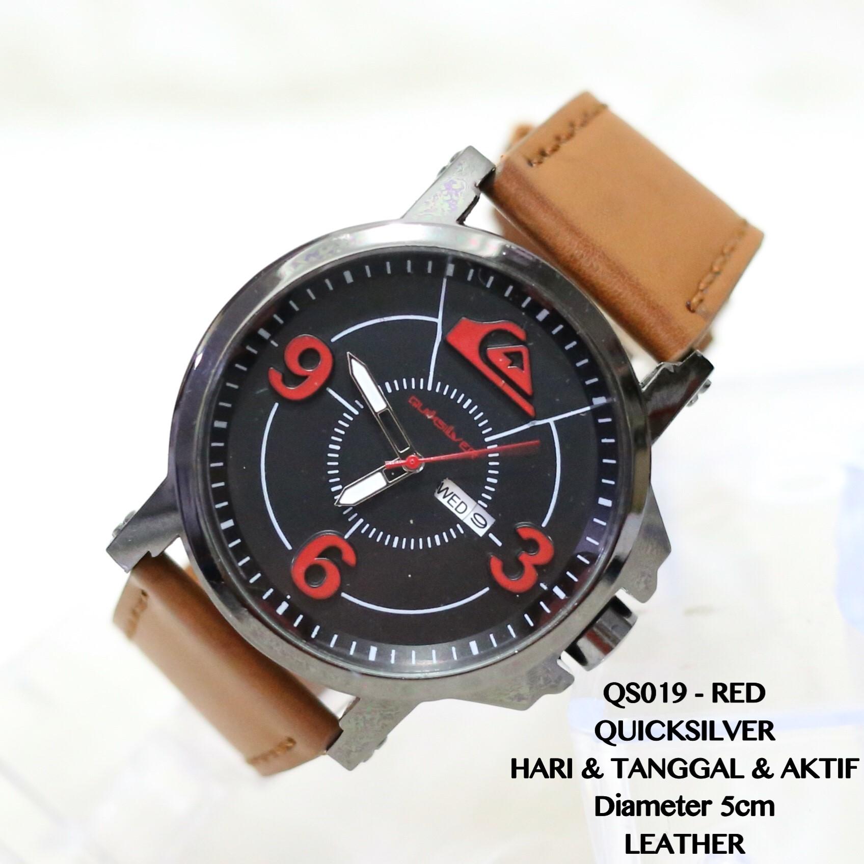 Jam tangan pria quicksilver leather kulit tanggal aktif supplier murah