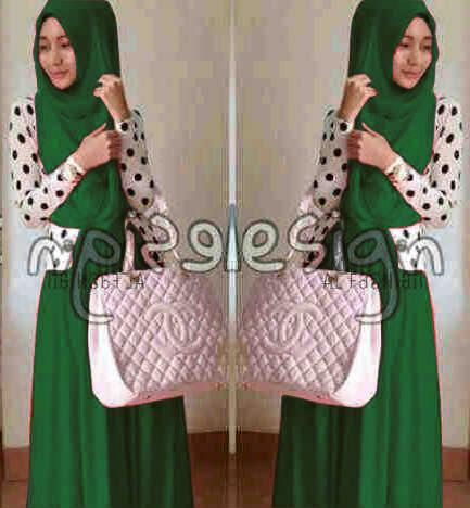 Maxi Modern Hijau Tua Baju Gamis Pesta Terbaru Hijab Wanita Muslimah