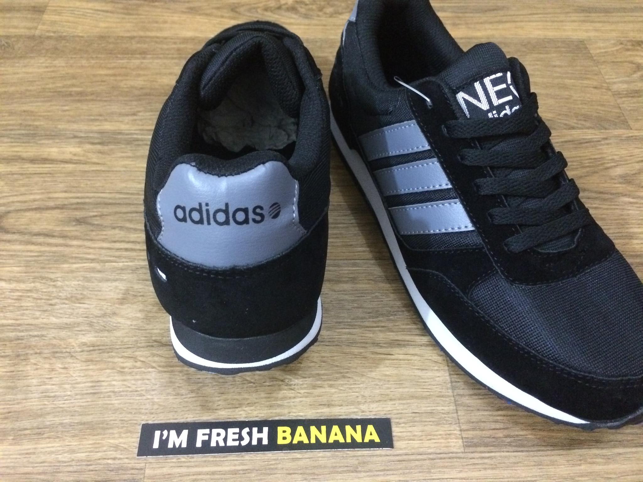 Adidas Neo City Racer Grey Black Hitam Sepatu Cityracer Lacer Runner